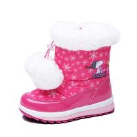 史努比童鞋女童鞋冬季新品女童雪地靴加绒保暖可爱女童棉靴