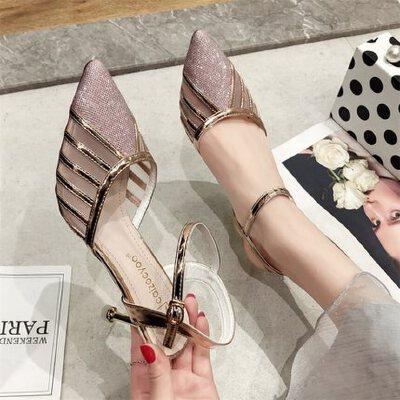 户外尖头网纱凉鞋女时尚配裙子的鞋百搭细跟性感高跟鞋仙女风