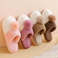 新款棉拖鞋女冬季居家用防滑厚底保暖毛毛月子可爱室内情侣男
