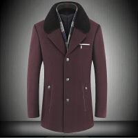 秋冬季中老年风衣男外套羊毛呢子大衣加绒加厚大码爸爸装 M 170