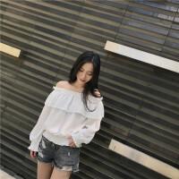 韩观2017夏季新款韩版一字领露肩荷叶边长袖雪纺衫女装纯色娃娃衫上衣SN577 均码 160/84A