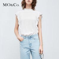MOCO夏季新品荷叶边钉珠无袖露背上衣MA182TOP121 摩安珂