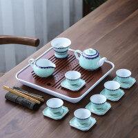 简约青花瓷盖碗茶杯套装陶瓷功夫茶具6人整套家用茶壶茶盘礼盒送父亲送朋友