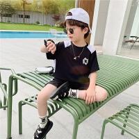 【2件2折】左西男童套装夏装儿童短袖速干运动两件套男孩中大童夏天2021新款