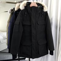 潮牌冬装新款羽绒服男中长款大毛领连帽派克大衣加厚鹅绒工装外套