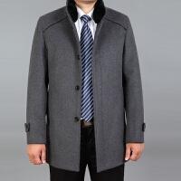 新款秋冬中年男装毛呢大衣男爸爸装冬装外套中长款羊毛妮大衣妮子 灰色 0/M