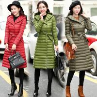 韩版系带羽绒服女中长款2017冬装新款女装反季潮修身气质外套女