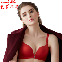茉蒂菲莉 文胸 女士秋冬新品磨毛款胸罩单件女式本命年红色纯色无痕无钢圈纯色时尚内衣