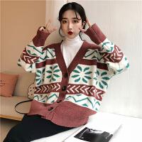 春秋女装韩版时尚花朵V领宽松单排扣开衫毛衣外套学生拼色针织衫