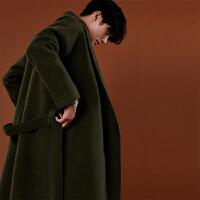 冬季新款潮流呢子宽松大衣男士长款韩版加厚毛呢外套青年休闲风衣