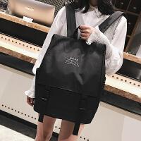 书包女学生韩版学院风高中校园新款纯色百搭双肩包复古旅行背包黑