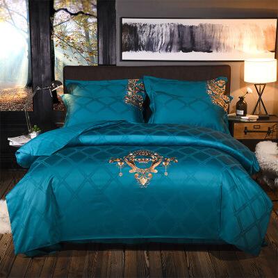 家纺品质高 全棉时代40S缎条刺绣四件套不退色不起球床上用品