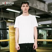 viishow夏装新款短袖T恤 欧美街头个性短袖男 圆领拼接白T恤