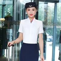 【1件7折 2件6折】短袖衬衫职业装OL气质女装打底销售珠宝前台空姐制服