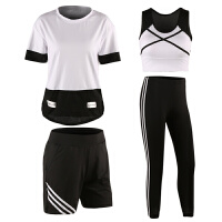 瑜伽服春新款健身服女四件套宽松夏季速干衣短袖大码跑步运动套装 白色 长裤套装