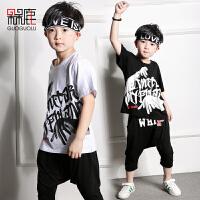 儿童街舞套装嘻哈服装宽松短袖T恤少儿舞蹈服装男孩