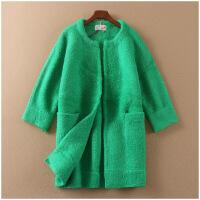 冬季加厚呢大衣韩版开衫中长款纯色毛呢外套女10960