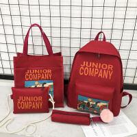 风少女书包双肩包女韩版大容量高中大学初中生森系背包 红色五件套 徽章