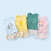 舒贝怡 婴儿背心套装女宝宝夏装儿童无袖短裤两件套男童夏季纯棉薄款衣服