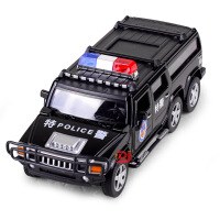 儿童仿真6轮悍马警车合金车模型 特警声光回力玩具汽车 白色