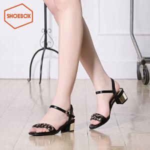 达芙妮旗下shoebox鞋柜夏新款一字扣带凉鞋休闲方跟粗跟女鞋