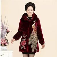 妈妈装秋冬棉衣加厚印花中老年人女装冬装奶奶外套婆婆棉袄