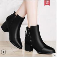 雅诗莱雅秋冬季新款粗跟短靴尖头中跟裸靴百搭女鞋及踝靴马丁靴女靴子