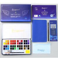 乔尔乔内固体水彩颜料套装水粉饼铁盒便携18色24色36色48色少儿水彩画学生手绘画笔本套装初学者绘画美术工具