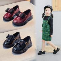 女童皮鞋儿童公主鞋软底高跟鞋黑色单鞋英伦风时尚