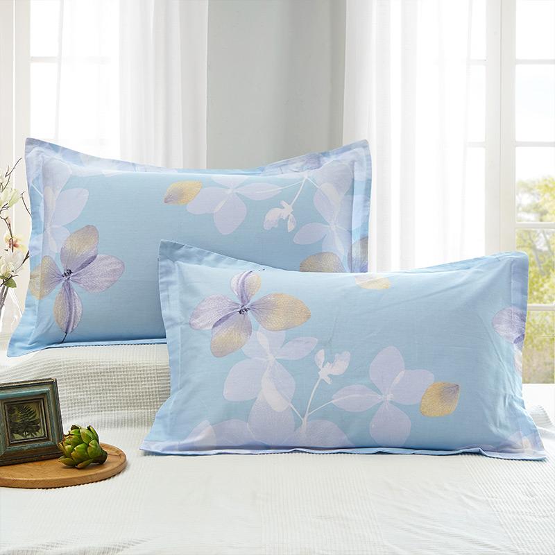 当当优品 纯棉斜纹印花枕罩 48*74 对装 恬静优雅(蓝)当当自营 100%纯棉 无甲醛 柔软舒适 透气性好 2个装