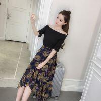 18夏装新款T恤+印花半身裙波西米亚雪纺连衣裙两件套女