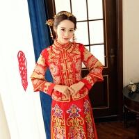 秋冬新款服新娘中式结婚礼服龙凤褂敬酒服嫁衣旗袍 红色 X