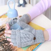 学生手套冬天女士半指翻盖保暖韩版写字情侣可爱秋冬分指毛线手套