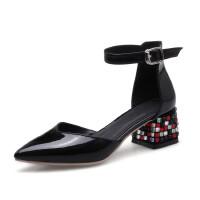 ELEISE美国艾蕾莎新品155-02180欧美头层牛皮漆皮里面全皮中跟水钻酒杯跟拼色尖头女士凉鞋