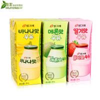 韩国进口宾格瑞哈密瓜/香蕉牛奶/草莓味饮料200ml*6盒 水果味饮品