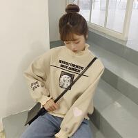 春装女装韩版宽松百搭高领爱心字母刺绣加厚套头卫衣学生外套上衣