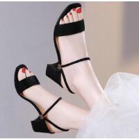 古奇天伦百搭韩版女士中跟一字带粗跟高跟鞋凉鞋新款夏季女鞋YGH8688
