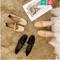 新款女士单鞋韩版学生百搭方头网红同款平底浅口休闲一脚蹬奶奶鞋