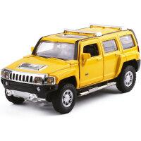 车模1:32悍马HUMMER H3 合金声光回力门可开汽车儿童玩具 黄色悍马