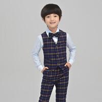 儿童礼服男演出服生日马甲套装 花童礼服男童主持钢琴童装
