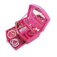 结婚首饰盒粉色化妆盒双层首饰收纳盒礼品盒带锁饰品盒复古韩国