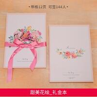 结婚用品韩式礼金本创意婚礼礼簿礼单记账本婚庆嘉宾签名册签到本 甜美花绘_签名册(可签144人)