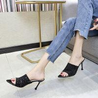 户外拖鞋韩版罗马风单鞋时尚百搭一字型高跟女鞋子