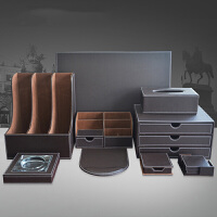 皮革笔筒 桌面收纳盒 办公用品商务礼品套装 多功能文具 材料夹文件盒