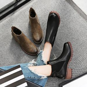 毅雅2017秋冬新款短靴平底低跟英伦风女马丁靴粗跟复古侧拉链裸靴