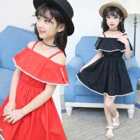 花样童依 童装2018夏季新款韩版女童连衣裙中大童一字肩吊带公主裙儿童裙子