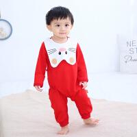 【3件3折后28.44】Banjvall 婴儿哈衣爬行服纯棉加厚四季款红色适合0-12个...