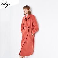 【新春特惠 秒��r:589】Lily女�b拼接PU撞色�p排扣�L款羊毛大衣毛呢外套1969