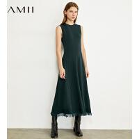 【券后�A估�r:184元】Amii�O�小腰精黑色�B衣裙秋新款收腰�@瘦流�K��o袖背心裙女�L裙