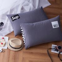 水洗棉枕头套全棉简约纯色枕头套子纯棉48*74cm单人枕套一对装2只 48cmX74cm